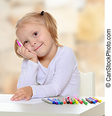The girl draws with markers - Adorable little blonde girl...
