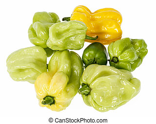 Vegetable of small yellow and green chili pepper habanero on...