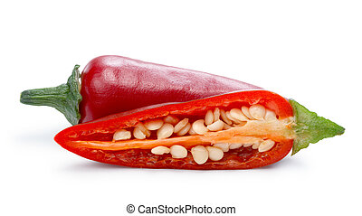 Hot Jalapeno Pepper (Capsicum Annuum) whole and halved....