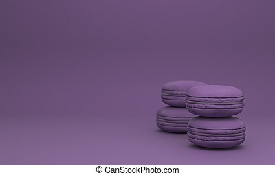 pastel color macaron sweet cake with copy space purple color...