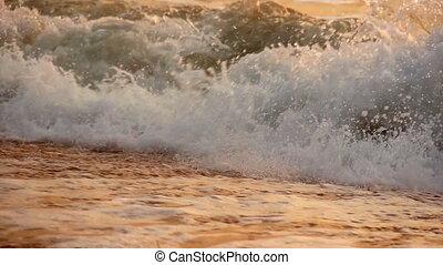 sea at morning time - close-up sea waves at morning time