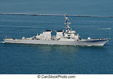 The USS Higgins DDG 76, an Arleigh Burke-class guided...
