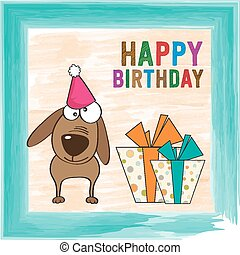 childish birthday card with funny dog