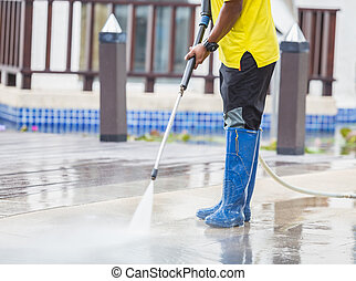 Close up Outdoor floor cleaning with high pressure water jet...