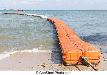 Floating walk way pontoon in the sea - Red floating walk way...