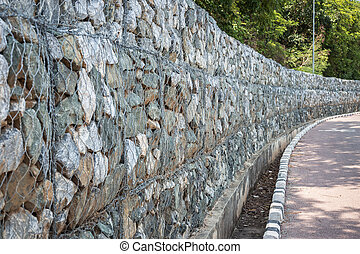 Pattern of grey and rough granite wall texture for...