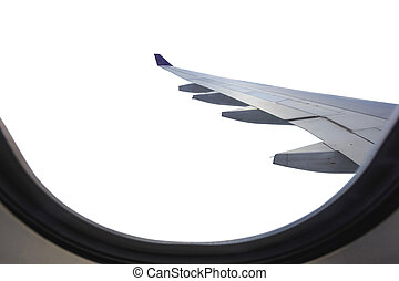 Wing of airplane from window isolated on white. Saved with clipping path.