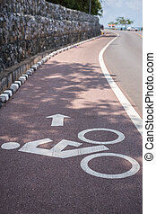 White bicycle sign or icon on the road - Close up white...