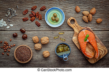 Selection food sources of omega 3 and unsaturated fats Super...
