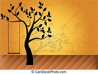 black tree silhouette isolated on Gold background, vector