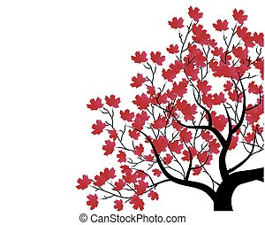 vector set - decorative tree and red leaves