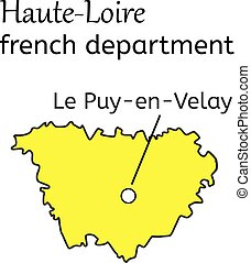 Haute-Loire french department map on white in vector