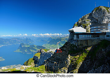 Cable car approach to the top of Pilatus mountain from Luzern, Switzerland in summer