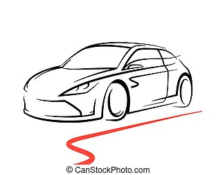 Vector Of Concept Car With Supercar Sports Vehicle Silhouette