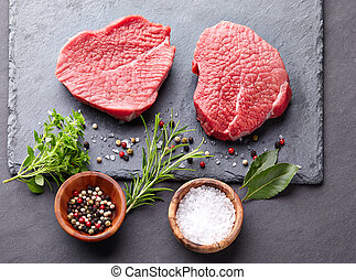 Raw beef with spices and herbs