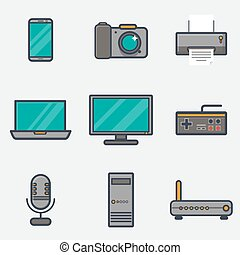 Thick line computer icons - Set of retro vintage thick and...