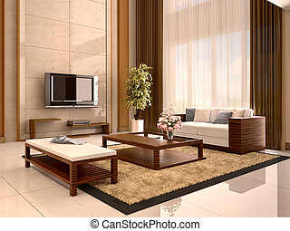 Modern design living room warm colors. 3d illustration.