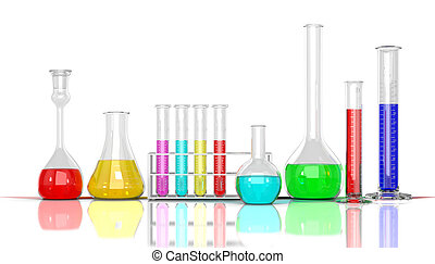 3D render illustration Laboratory glassware whith color...