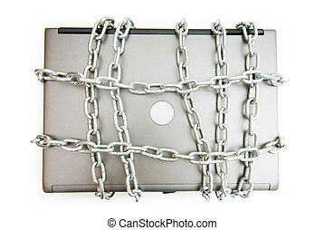 Computer security concept with laptop and chain