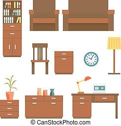 Office furniture Flat design Set Vector illustration