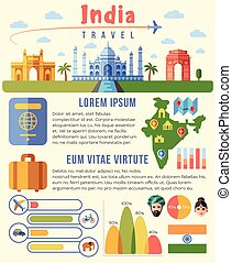 India vector traveling infographics template with landmarks and charts