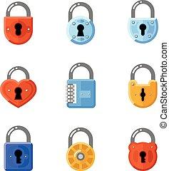 Padlock flat icons. Lock vector signs