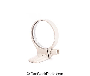 White tripod lens collar mount ring isolated in white...