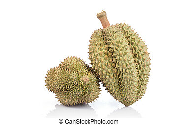 Thai Durian, tropical fruit, isolated on white background -...