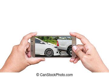 kobieta, wypadek, fotografia, Ręka, smartphone, wziąć,...