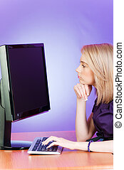 Student working at the computer
