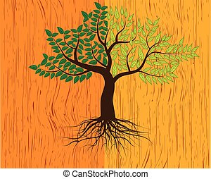tree on wood background