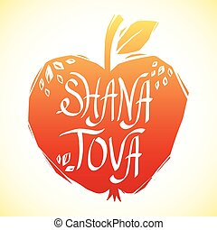 Rosh Hashanah greeting card with apple. Shana Tova or Jewish...