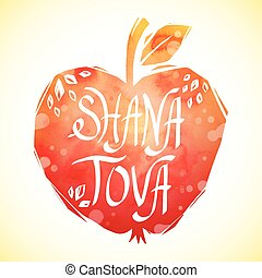 Rosh Hashanah greeting card with apple. Shana Tova or Jewish...