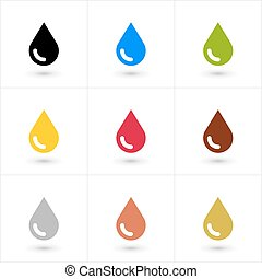 Set drop icon in flat style with shadow - 9 drop petroleum,...