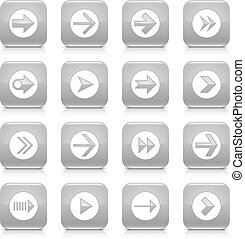 Gray arrow sign rounded square icon web button - 16 arrow...