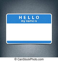 Blue blank tag sticker HELLO my name is - Blue blank name...