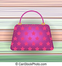 Pink Modern Womens Handbag on Colorful Planks Background.