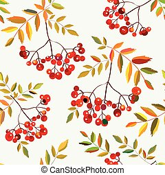 Rowan berries seamless autumn pattern - vector graphic...