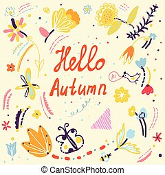 Autumn funny card with floral design and birds