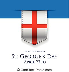St George Day England flag ribbon banner or poster