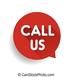 Call us vector label red