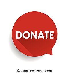 Donate label bubble vector red