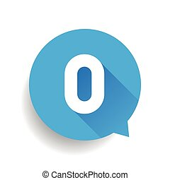 Number zero 0 speech bubble blue