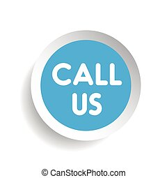 Call us vector label blue