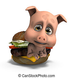 cute and funny toon pig served in a burger as a meal. 3D rendering with clipping path and shadow over white