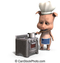 the cook is a cute toon pig. 3D rendering with clipping path and shadow over white