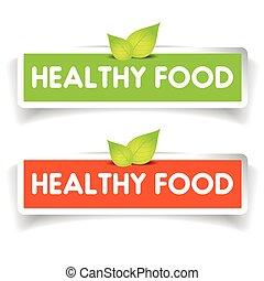 Healthy food label vector set