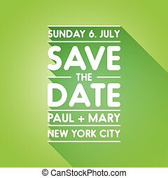 Typographic green wedding announcement - Save the date