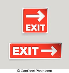 Exit sign vector red