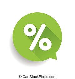 Percent sign vector speech bubble